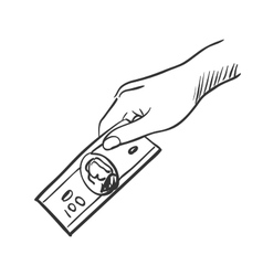 hand giving money doodle vector image