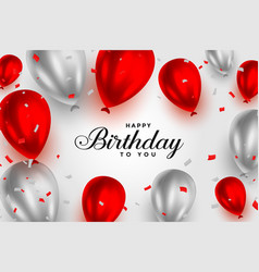 Happy birthday red and white shiny balloons vector