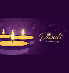 happy diwali festival banner gold indian candle vector image