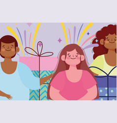 happy young people with gift boxes celebration vector image