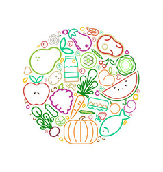 Healthy eating circle concept line icons food vector