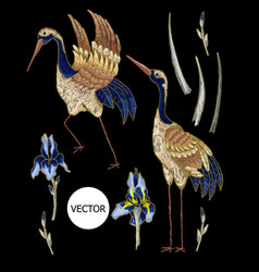 Heron-crane embroidery with iris flowers vector
