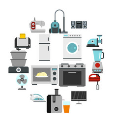 household appliance icons set flat style vector image