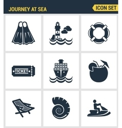 Icons set premium quality of journey at sea summer vector