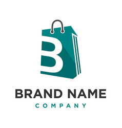 initial logo b shopping bag vector image