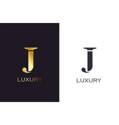 j gold styled letter monogram luxury style vector image
