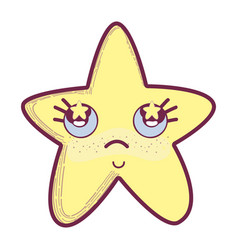 kawaii star thinking with cheeks and stars inside vector image