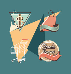 label set retro shopping vector image