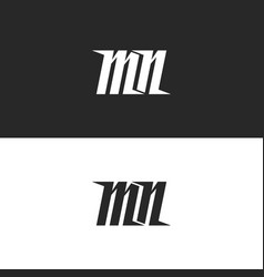 letters mn logo two letters monogram m and n vector image