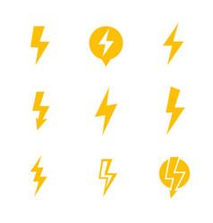 lightning bolt electricity warning signs vector image