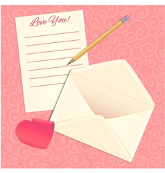 Love letter envelope and heart sticker eps10 vector image