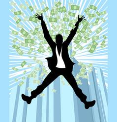 man in rain of money vector image