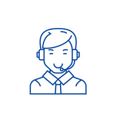 Man with headset line icon concept man vector