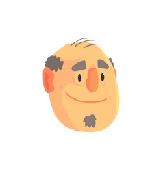 Mature balding man face avatar positive male vector