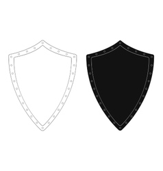 Medieval knight shield with rivets contour vector
