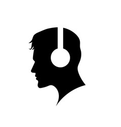 men with headphone logo vector image