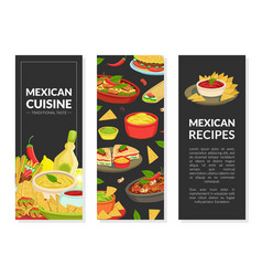 mexican cuisine recipes vertical banners set with vector image