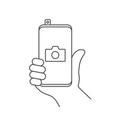 mobile phone photography camera line icon outline vector image