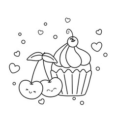 muffin and cherries black and white vector image