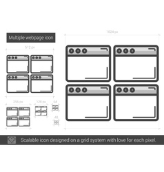 Multiple webpage line icon vector image