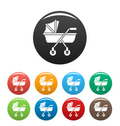 New baby carriage icons set color vector