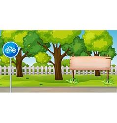 Park scene with bike lane vector