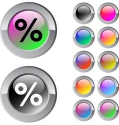 Percent multicolor round button vector