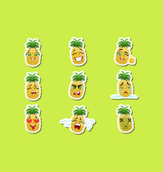 Pineapple cute emoji stickers set on green vector