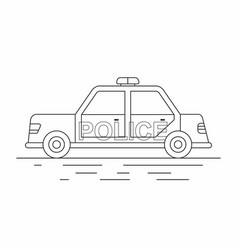 police car isolated line icon vector image