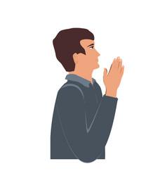 Profile portrait praying christian man faith vector