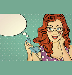 Red-haired woman with glasses gossip at retro vector