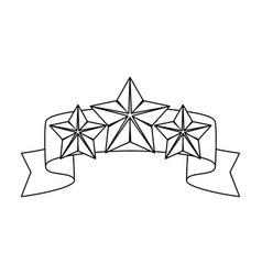 red ribbon with three starsreward a police vector image