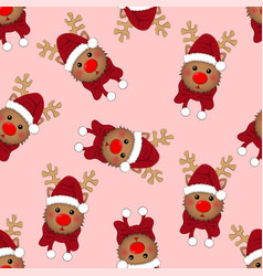 reindeer santa with red scarf on pink background vector image