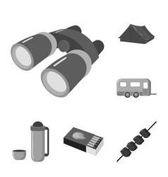 Rest in the camping monochrome icons in set vector