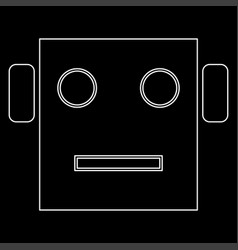 robot head white color path icon vector image
