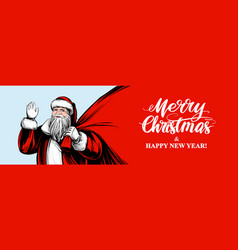 santa claus is holding a big bag christmas symbol vector image