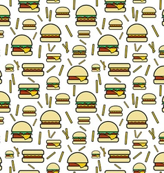 Seamless pattern of burgers and fries on white vector