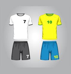 set different soccer uniform vector image