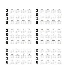 Set of 2018 year simple calendars on different vector
