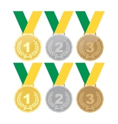 Set of gold medals silver medals and bronze vector image