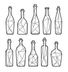 set triangle alcohol bottles vector image