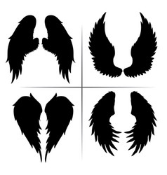 silhouette wings bird black white 02 vector image