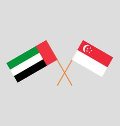 Singaporean and uae flags vector