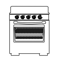 Sketch silhouette of stove with oven vector