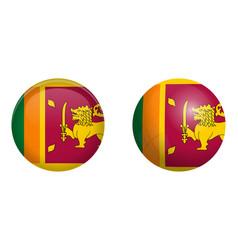 sri lanka ceylon flag under 3d dome button and on vector image