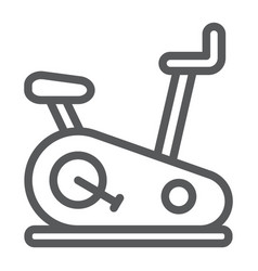 Stationary bike line icon sport and equipment vector