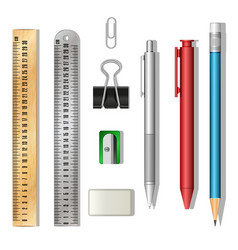Stationery set 3d objects isolated on white vector