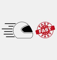 Stroke speed motorcycle helmet icon and vector