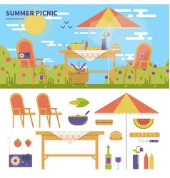 Summer picnic in the garden vector