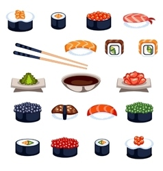 Sushi and rolls food icons vector image